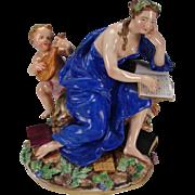 Antique Meissen Porcelain Figurine Grouping Cherub Lady Reading Book