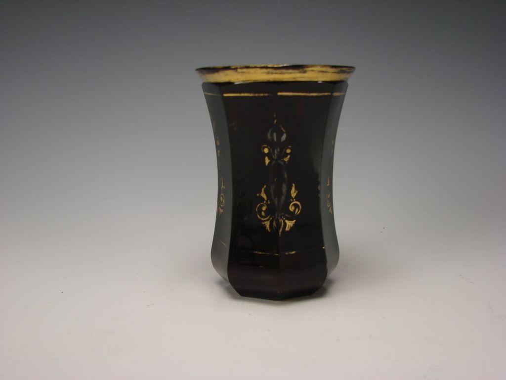 Antique Antique Bohemian Deep Ruby Red Cut Faceted Enamel Glass Vase c1840