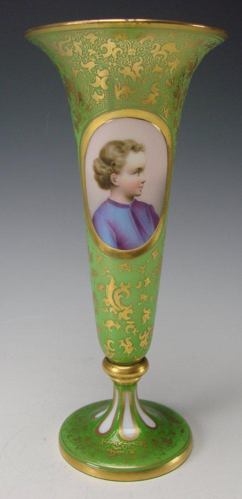 Antique Moser Bohemian Cased Green Glass Opaline Portrait Vase
