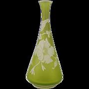 Antique 19c Stourbridge English Citrine Cameo Glass Vase