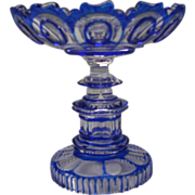 Great Bohemian Cobalt Blue Cut to Clear Glass Compote Tazza