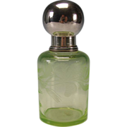 Antique Bohemian Moser Engraved Lily on Vaseline Glass Sugar Shaker Lidded Jar