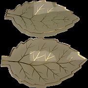 Antique Bohemian Moser Gilt Opaline Glass Cut Leaf Leaves Form Plates Trays PR