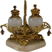 SALE Antique French Palais Royal Ormolu Perfume Caddy Caddie Set