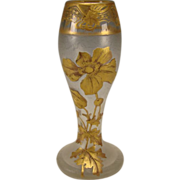 Antique Signed Mont Joye Cut French Cameo Glass Elegant Gilt Vase