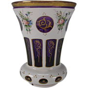 Antique c1900 Cased Hand Painted White on Amethyst Glass Beaker Vase