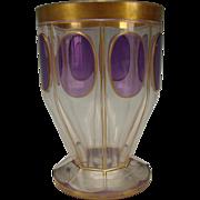 Antique Bohemian Moser Amethyst Cabochon Gilt Beaker Glass Vase