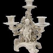 Antique KPM German Ornate Blanc de Chine Cherub Foliage Candleabra