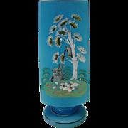 SALE Antique mid 19c Bohemian Enameled Hand Painted Blue Opaline Glass Vase