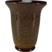 Antique Czech Harrach Cranberry with Gold Mica Heavy Bohemian Glass Vase