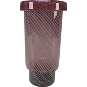 SALE Vintage Fine Modern Caned Latticino in Rolled Rim Amethyst Glass Vase