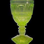 Antique Vaseline Boston Sandwich Pillar Loop Wine Glass Stem c1860's