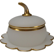 Antique French Gilt Opaline Large Glass Vanity Lidded Jar Box c1870