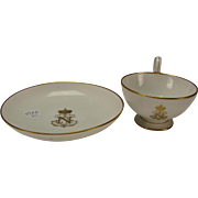 Great Sevres Napoleon III Armorial Gilt on White Porcelain Tea Cup and Under Plate/Saucer