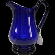 SALE Antique Cobalt Blue Pittsburgh Early American Federal Era Glass Pitcher Jug