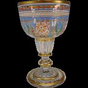 Amazing Bohemian Enamel Painted Wine Glass Stem c1900