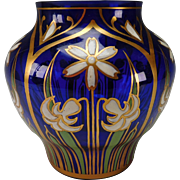 Stunning Bohemian Fritz Heckert Japanese Meiji Style Enamel Glass Vase
