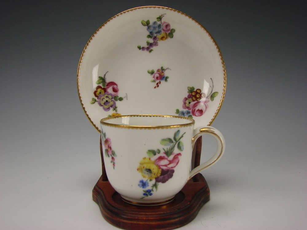 Antique French Sevres Hand Painted Porcelain Cup Saucer c1771