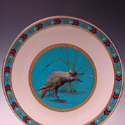 SOLD Antique Minton Cloisonne Porcelain Blackbird Crow Hand Painted Enamel Plate c1870