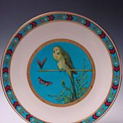 Antique Minton Hand Enamel Porcelain Parakeet Butterfly Bird Plate Cloisonne Rim