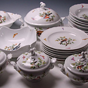 Antique 19c Meissen Hand Painted Rothschild Porcelain Birds Butterflies SET of Plates/Bowls Tu