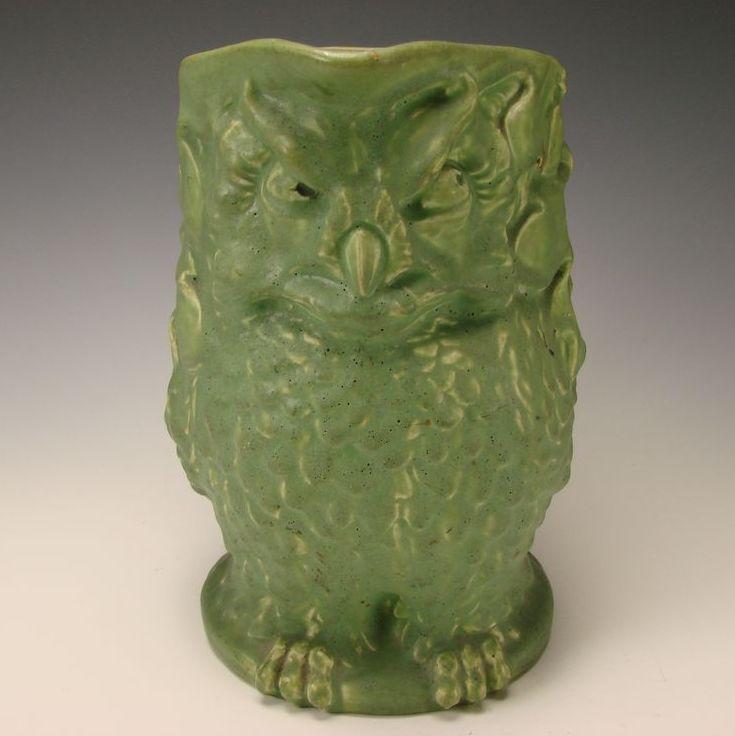 BIG Rookwood c1907 Arts Crafts Matte Green Owl Pottery Figural Pitcher Jug