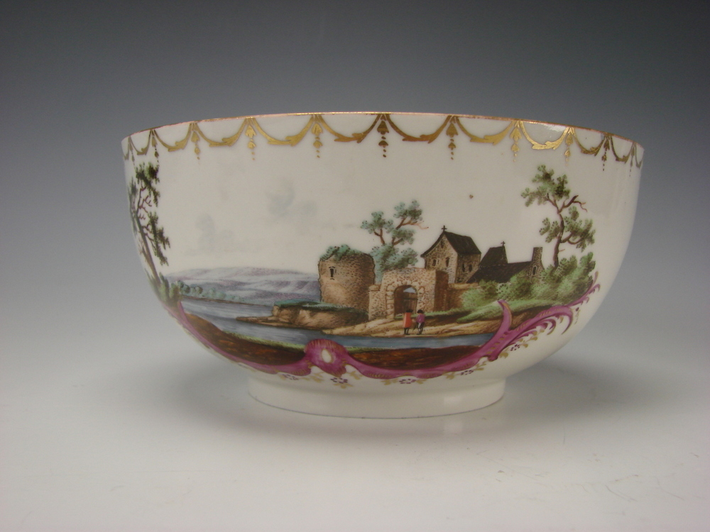 Antique German Furstenberg Porcelain 18c Hand Painted Scenic Bowl Vase