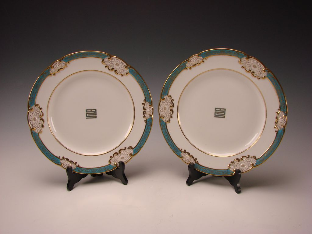 Antique Royal Worcester English China Porcelain Lotus Aesthetic Gilt Cabinet Plates