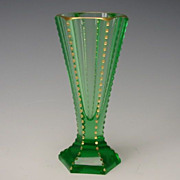Antique Moser Bohemian Vaseline Glass Cut Gilt Vase Art Deco