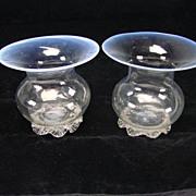 SALE Antique Venetian Murano Salviati/Barovier Iridescent Opaline Rim Glass Vase Pair