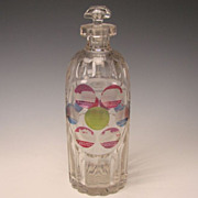 BIG Antique Bohemian Glass SPA Etched Decanter c1860