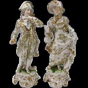 SOLD Antique Sitzendorf German Porcelain Figurine Pair