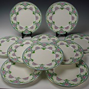 c1890 English Minton Enameled Porcelain Dinner Plate Set of 10