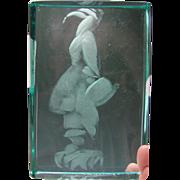RARE Jiri Harcuba Abraham Lincoln Bust Finely Engraved Glass Plaque Pane