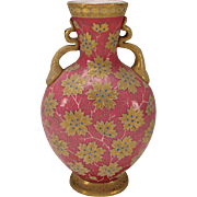 RARE Antique Moser Pink Opaline with Gold Blue Coralene Leaves Moroccan Design