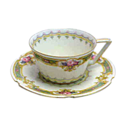 Delicate Deco Shaped German Furstenberg Demitasse Cup & Saucer