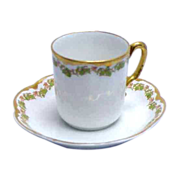 White w/ Green Leaves & Berries Haviland France Demitasse Cup & Saucer