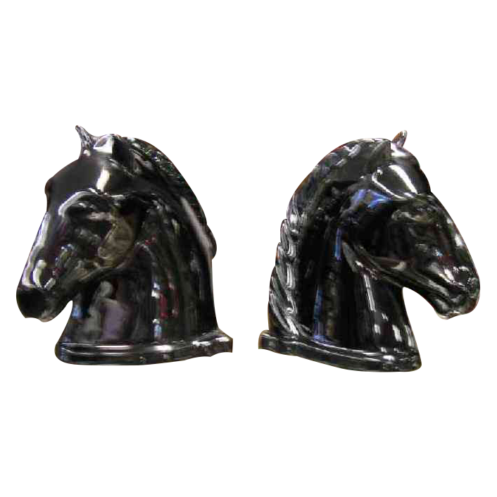 Black Abington Pottery Horse Head Bookends from hillandhill on ...