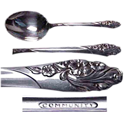 "Community Plate Evening Star 1950 Pattern 8 5/8"" Berry Spoon"