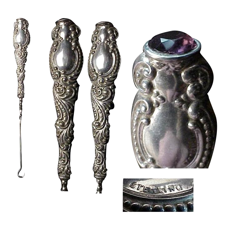 1890's - 1900's Sterling Silver Antique Buttonhook with a Jeweled Top