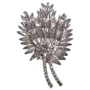 Unusual Large Rhinestone Floral Bouquet Pin / Brooch