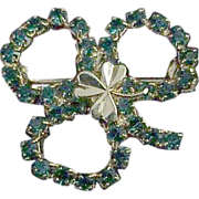 Emerald Green & Gold Irish Clover Jewelry Pin / Brooch