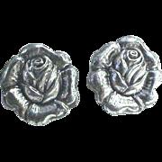"Sterling Silver ""Rose"" Screw Back Earrings"