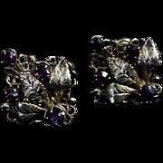 Pair of  Screw Back Earrings w/ Purple Amethyst colored Rhinestones