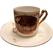 Souvenir Demitasse Cup & Saucer of Leet Memorial  M.E. Church Bradford, Illinois
