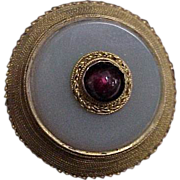 Georgian Era Gold Brooch / Pin w/ Chalcedony and Garnet Stones