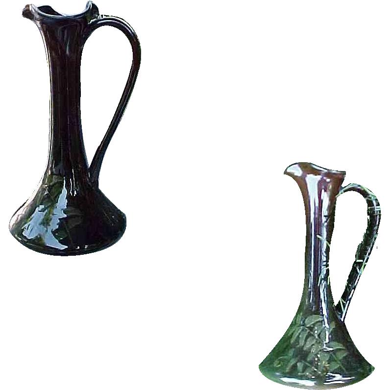 Circa 1890 - 1924 Weller Louwelsa Hand Decorated Art pottery Ewer