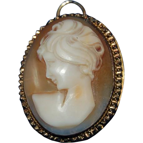 1920's - 1930's Carved Shell Cameo with Lady Portrait & Fancy Frame