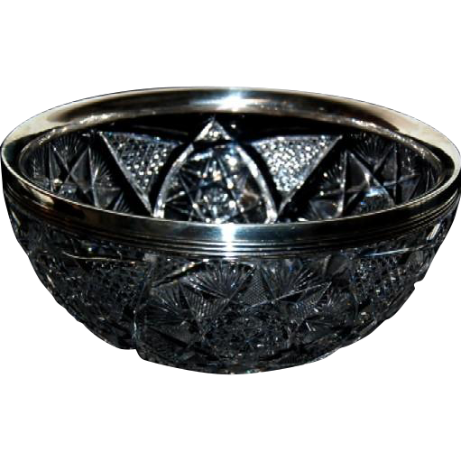 1890's - 1900's Brilliant Period Cut Glass Bowl with Sterling Rim