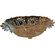 """Meadow Rose Crystal Etching by Fostoria 10 5/8"""" Baroque 4 toed Bowl"""